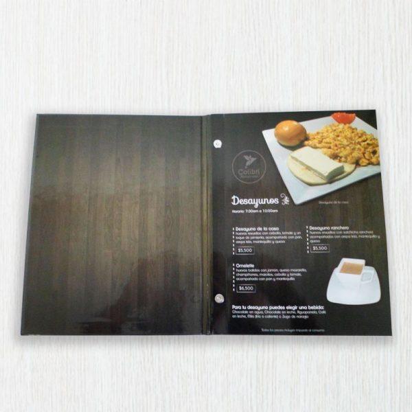 impresión de cartas de menú para restaurante