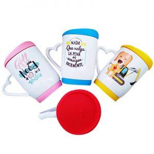 mugs personalizados tapa de silicona